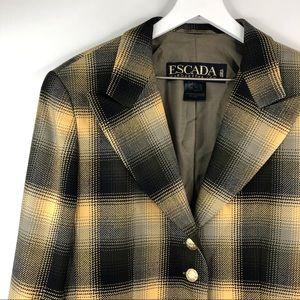 Escada Jackets & Coats - Escada Yellow Plaid Wool Vintage Blazer